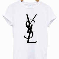 New YSL Yvest Saint Laurent Paris Logo Short Sleeve Men Black And White T Shirt S-XXL (YS03)