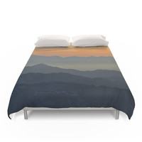 Society6 Sunset At The Mountains Duvet Cover