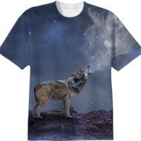 The Light of Starry Dreams (Wolf Howl) Unisex T-shirt 2 created by soaringanchordesigns | Print All Over Me