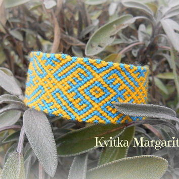 Handwoven wide friendship bracelet yellow blue Nord pattern Ukraine Slavic ukrainian gift ethnic folk