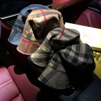"""Burberry"" Unisex Casual Tartan Classic Letter Embroidery Bucket Hat Fisherman Cap Couple Fashion Sun Hat"