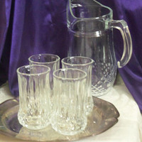 Cristal d'Arques Longchamp Pitcher + 4 Tumblers, Iced Tea, Lemonade Set of Five Clear Crystal, Diamond Pattern, Vintage Bar, Summer Serving