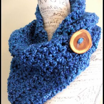 Crochet Scarf. Infinity Scarf. Infinity Cowl. Cowl. Blue Scarf. Chunky. Wood button cowl.