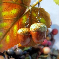 Welcome to Autumn Copper and Gold Acorn Earrings Polymer Clay