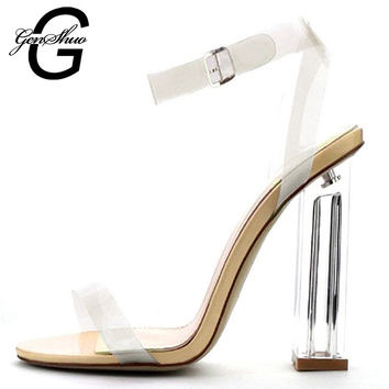 New Style PVC Summer Sandals Sexy Clear Shoes Transparent Buckle Strap High Heel Sandals Plus Size Crystal Women Shoes Pumps