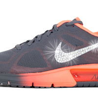 Nike Air Max Sequent + Swarovski Crystal Swoosh - Grey