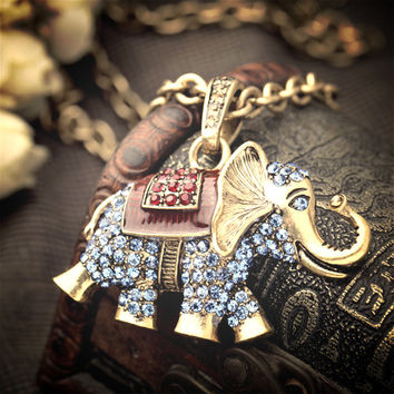 Vintage Antique Gold Plated Crystal Elephant Long Pendant Necklace