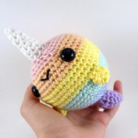 Pastel Rainbow Striped Big Narwhal - Made to Order - Amigurumi Crochet Plushie