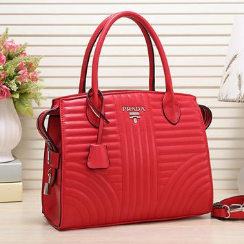 Perfect Prada Women Fashion Leather Satchel Tote Handbag Crossbody Set Two-Piece