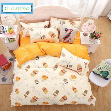 BEST.WENSD single bed sheets Princess bedclothes queen twin kids comforter bedding set flat bed linen duvet cover -jogo de cama