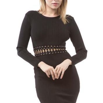 Long Sleeve Gold Chain Detail Bandage Dress - Black