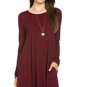 Mittoshop long sleeve solid pocket knit dress