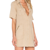 Short Sleeve Utility Dress in Sand Dune