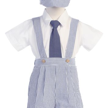 Striped Blue Cotton Seersucker Boys Suspender Shorts Set 6M-4T