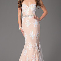 Lace Strapless Sweetheart Floor Length Dress