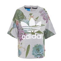 """Adidas"" Women Fashion Simple Print Flower Short Sleeve  T-shirt"