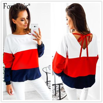 Forefair Autumn Winter Hoodies Sweatshirt Women Fashion Contrast Color Patchwork Long Sleeve Back V-collar Tied ribbon Pullover