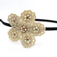 Gold Lace and Beaded Flower Head Band