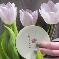 Ceramic Pink Flower Plate Love Text Pottery Mother Days Dish