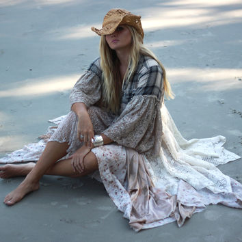 Flannel jacket, Gypsy vagabond coat, bohemian duster, Stevie Nicks style