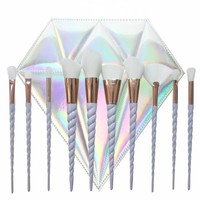 Holographic Unicorn Brush Set With Diamond Holo Brush Carrier - 10 Set