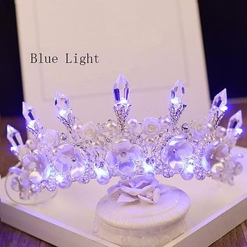 New Baroque Handmade LED Tiara Women Cosplay Costume Crown