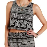 Black Combo Buttoned Back Paisley Crop Top by Charlotte Russe