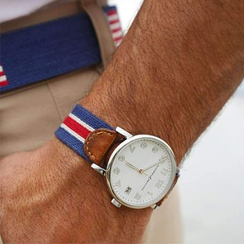 Red Multi Stripe Needlepoint Watch by Smathers & Branson