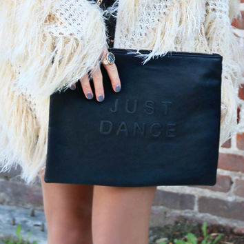 Just Dance Oversized Black Clutch With Detachable Chain Strap