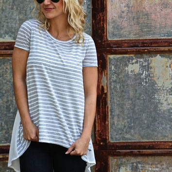 Striped Hi-Low Tee {White}