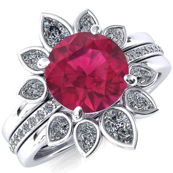 Flora Round Ruby 1/2 Eternity Accent Diamond Ring