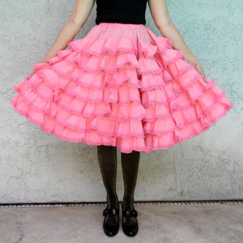 Authentic Vintage Spanish Flamenco Dancing Skirt in Bubblegum Pink w loads of Ruffles - Tiered Can Can Full Skirt - Halloween Costume xs