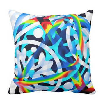Cluster of Colorful Abstract Shapes Throw Pillow