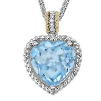 6 1/2 Carat Blue Topaz & Diamond Sterling Silver & 14K Yellow Gold Heart Pendant with 3-Strand Chain