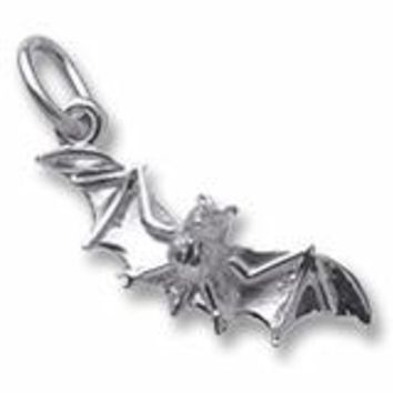 Bat Charm In Sterling Silver