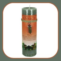 """ Energy"" Pillar Candle with Unkite  Pendant"