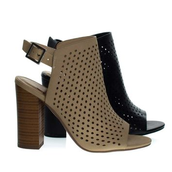 Gallery Natural By Delicious, Chunky Block Stack Heel On Perforated Pin Hole Upper w Sling Back Strap