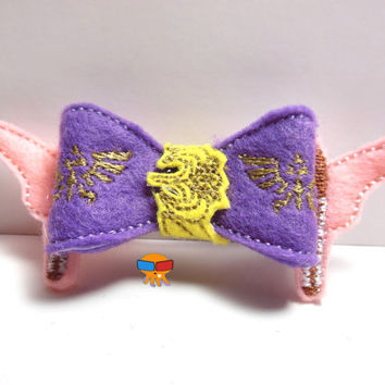 Hyrulian Princess who loves Link and is one tough mudder inspired 3D felt bow felt clippie physical item made to order
