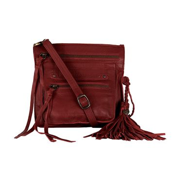 Stretta Small Leather Crossbody and Belt Hip Bag - Crimson Red