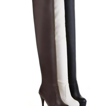 Sexy spiked high over the knee platform boots ~ 3 colors!