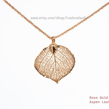 Rose Gold Aspen Leaf Pendant Necklace, Real Aspen Leaf dipped in rosegold, Unique Gift, Bridesmaid wedding Mother's Day Gift idea, Wedding