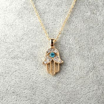 Turquoise Crystal Evil Eye Hand Hamsa Pendant Necklace