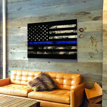 Thin Blue Line Wooden Wall Decor