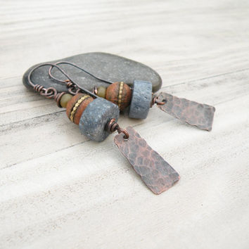 The Cairn - Tribal Stack Earrings with Copper Dangles, Blue and Mustard