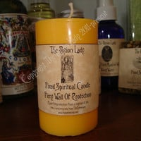 Fiery Wall Of Protection Candle - Repel Evil, Protect Against Spiritual Attacks - Hoodoo, Witchcraft, Occult