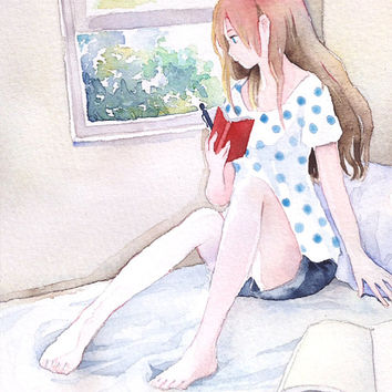 "Original watercolor Painting  5x7 girl illustration ""もう行かなくちゃ"" I must leave now. - Original picture, bed room, window"