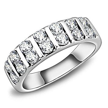 A Perfect 3.5TCW Russian Lab Diamond Half Eternity Wedding Band Ring