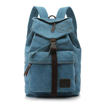 Leisure Large Pocket Zipper Solid Canvas Travel Backpack School Bag Camping Backpack