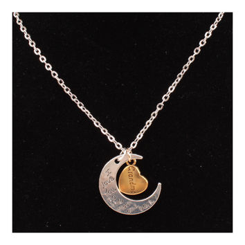 X329 love Valentine's Day love couple of European and American moon necklace ebay jewelry supply   GRANDMA SILVER
