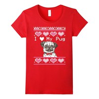 Ugly Valentines Day Sweater Dog I Love My Pug T-Shirt